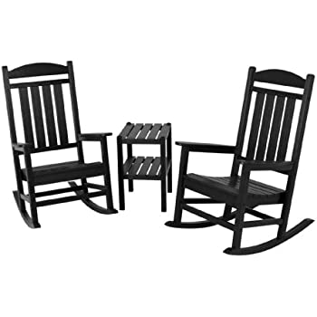 Amazon Com Polywood Pws140 1 Bl Jefferson 3 Piece Rocker