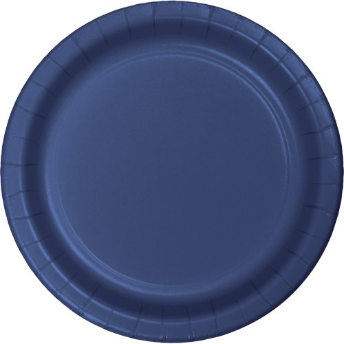 (24-Count Touch of Color Round Paper Dinner Plates, Navy Blue)