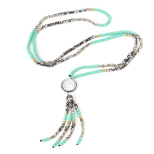 BOUTIQUELOVIN Turquoise Beaded Tassel Necklace-Long Y Shaped Dangle Pearl Gemstone Jewelry Gift for Women Girls (Handmade Necklace Beaded)