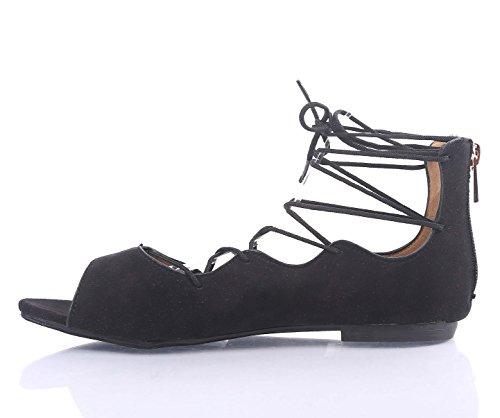 Fashion Sexig Snörning Strape Fotled Tillbaka Zip Öppna Strappy Kvinnor Sandaler Platta Skor Nya Utan Box Black