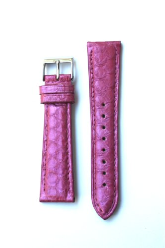 18mm Hot Pink Genuine Snakeskin Watchband From Italy for Michele Style