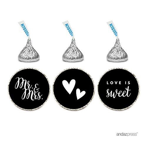 Andaz Press Chocolate Drop Labels Trio, Fits Hershey's Kisses, Wedding Mr. & Mrs., Black, 216-Pack, For Bridal Shower, Engagement Party Favors, Gifts, Bags, Stationery, Envelopes, Decor, Decorations