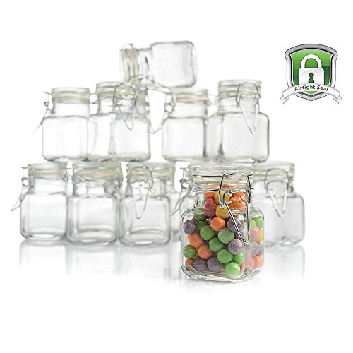 3 Oz Glass Jars with Lids - Leak Proof Container with Rubber Gasket and Hinged Lid for Food Storage, Herbs, Spices, Arts and Crafts, and Party Favors (48 Pack) -