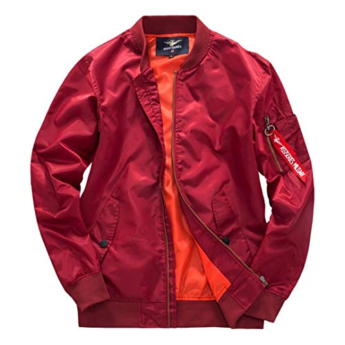 Men's Thick Military Motorcycle Jackets Flight Ma-1 Pilot Air Force Coat 8807 Red ()