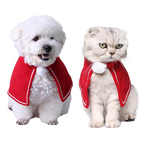 QBLEEV Kitten Puppy Red Manteau Cloak Cape Christmas Halloween Costumes Clothes -