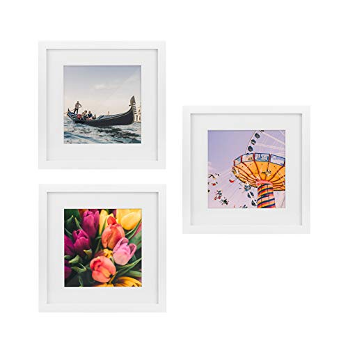 Tiny Mighty Frames - Wood Square Photo Frame, 11x11 (8x8 Matted) (3, White) (Picture Square White Frame)