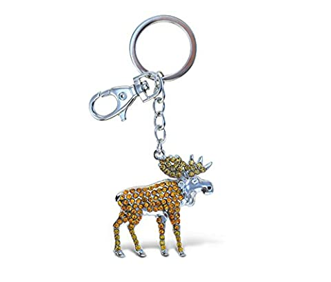 Puzzled Wild Moose Sparkling Charm Elegant Keychain