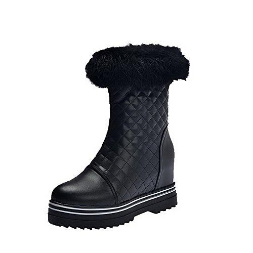 Allhqfashion Mujeres Solid Artificial Vaca Cuero High-heels Cremallera Round Botas Cerrado Dedo Del Pie Negro