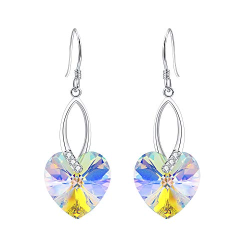 EleQueen 925 Sterling Silver CZ Love Heart French Hook Dangle Earrings Iridescent Aurora Borealis AB Made with Swarovski Crystals