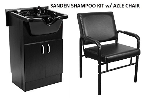 Shampoo Cabinet SANDEN BLK w AZLE Shampoo CHAIR, Faucet, Bowl, Drain for Beauty Salon and Spa by Berkeley