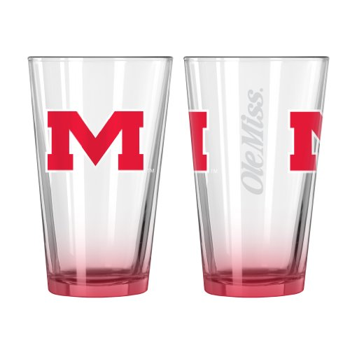 Boelter Brands NCAA Mississippi Ole Miss Rebels Elite Pint Glass Set, 16-ounce, ()