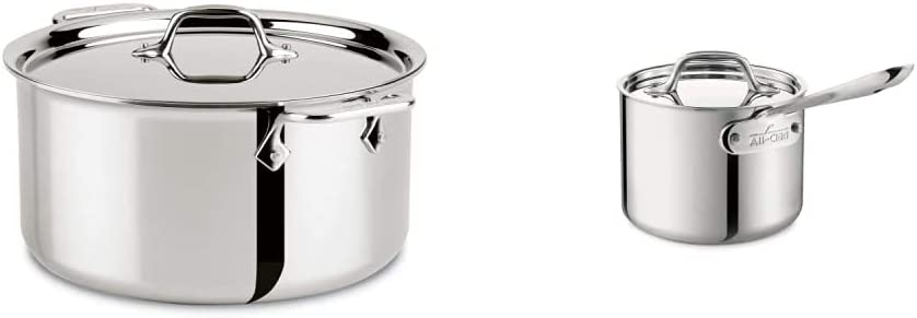 All-Clad 4508 Stainless Steel Tri-Ply Bonded Dishwasher Safe Stockpot with Lid/Cookware, Silver & Stainless Steel Sauce Pan with Lid Cookware, 2-Quart, Silver,4202