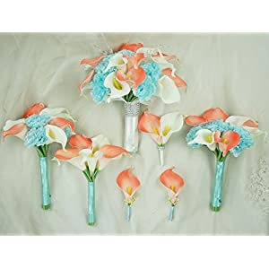 Lily Garden Real Touch Calla Lily Coral and White and Carnation Turquoise Flowers Wedding Bouquet 2