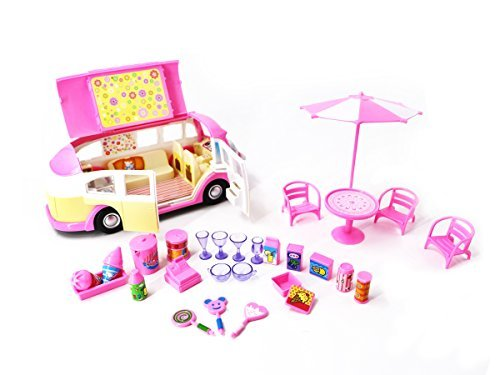 PlayMarket 2015-4 Tasty Ice Cream Van Toy Set, Pink,30 Piece
