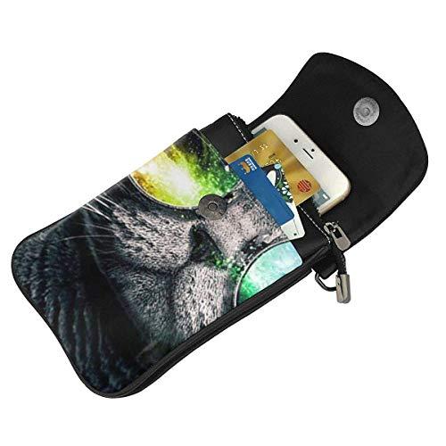 HYJUK Mobiltelefon crossbody väska cool kattmönster kvinnor PU-läder mode handväska med justerbar rem