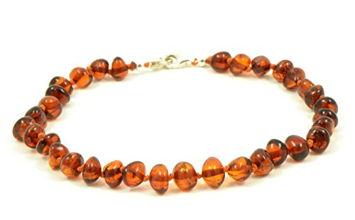 Genuine Baltic Amber Adult Anklet, Adjustable 7.5~9.5inches (19-24cm) (Cognac)