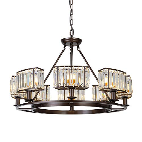 OSAIRUOS Bronze Crystal Chandeliers Modern Contemporary Ceiling Light Fixtures Vintage Pendant L ...