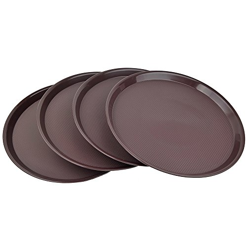 Ggbin Plastic Restaurant Trays, Brown Round Tray, Set of 4 ()