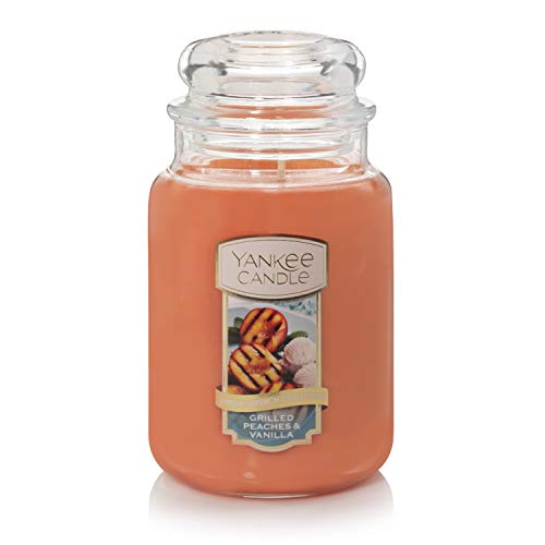 - Yankee Candle Grilled Peaches & Vanilla, The Sunday Brunch Collection, Classic Glass Jar Candles, Large 7 Inches, 22 OZ