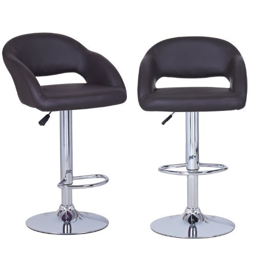 Adeco Brown Hydraulic Lift Adjustable Leatherette Barstool Low Cut Out Back Chair, Chrome Finish, Pedestal Base (Set of Two)