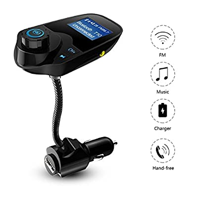 SENWOW Bluetooth FM Transmitter Wireless In-Car Radio Adapter Car Kit Supports TF/Micro SD Card USB Car Charger With 1.44 Inch Display, Hands Free Calling for Smartphones, Tablets, MP3 and More from SENWOW