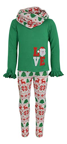 Unique Baby Girls 3 Piece Christmas Santa Love Embroidery Outfit (6) Green