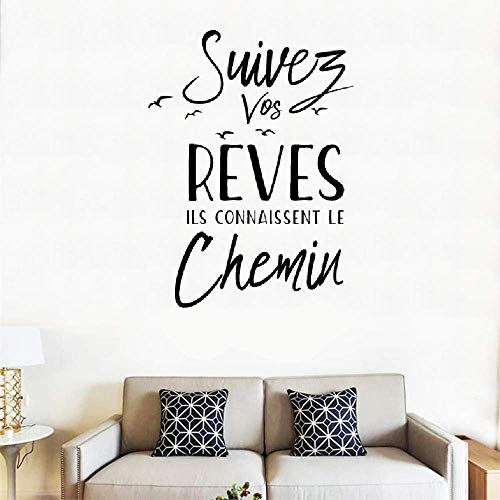 Wall Decal Sticker Art Mural Home Decor Quote French Quote Suivez VOS Rêves, Ils Connaissent Le Chemin Follow Your Dreams They Know The Way