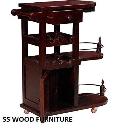 SS WOOD Furniture Altavista Nectar Solid Wood Bar Cabinet (Mahogany Finish)