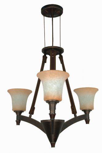 Light Three Umber Burnt (Nuvo 60/1042 3 Light Chandelier with Burnt Sienna Glass Shades)