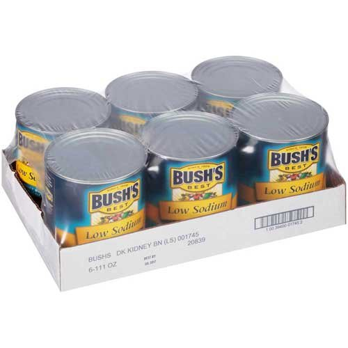 Bushs Best Low Sodium Dark Red Kidney Beans, 111 Ounce - 6 per case.