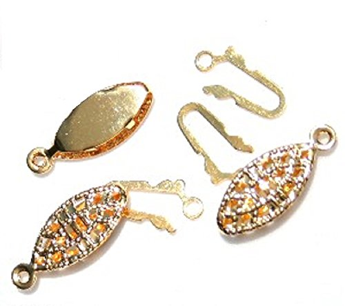 JEWELRY MAKING CLASP OVAL FILIGREE FISH HOOK CHOOSE PLATING 24 sets (Gold Plated)