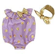 Messy Code Baby Girls Romper Onesies Sunsuit Baby Clothes Seaside Jumpsuits with Headband Purple 3-6months