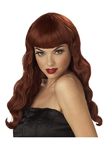 Hollywood Pin Up Costumes (Pin Up Girl Hollywood Glamour Halloween Costume Wig (Red))