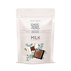 ChocZero Premium Milk Chocolate, Sample Pack. No Sugar Added, Low Carb. No Sugar Alcohols, All Natural, Non-GMO (1 bag, 10 pieces)