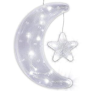 Weihnachtsbeleuchtung Aussen Stern Preise.Nipach Gmbh Fensterbild Mond Mit Stern Mit Saugnapf Beleuchtet 20