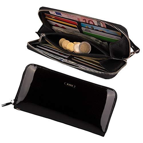 Womens RFID Blocking Wallet Zipper Around Genuine Leather Clutch Wristlet (Black)