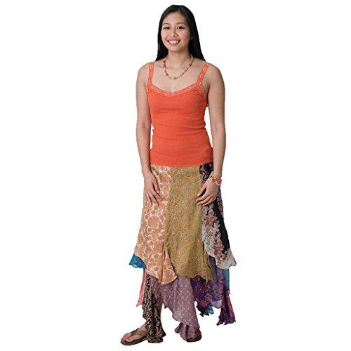 Patchwork Larga Mezcla de Seda Sari Wrap falda, jedzebel, pw121Comercio Justo ecológico Premium Selección