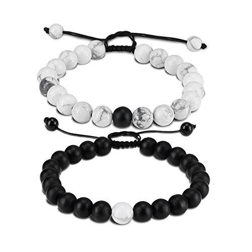 EnjoIt Distance Bracelet Black Matte Agate & White Howlite Energy Stone Beads Bracelet Set Couple Jewelry (Black 2 Braided) ()
