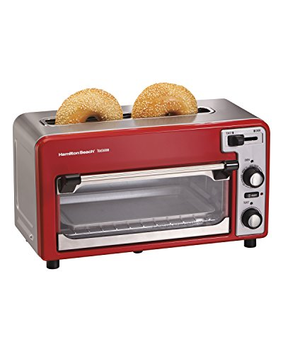 Hamilton Beach 22722 Toastation Toaster Oven w/Wide 2 Slice Toaster Combo, Red (Toaster Oven Toast Combo compare prices)