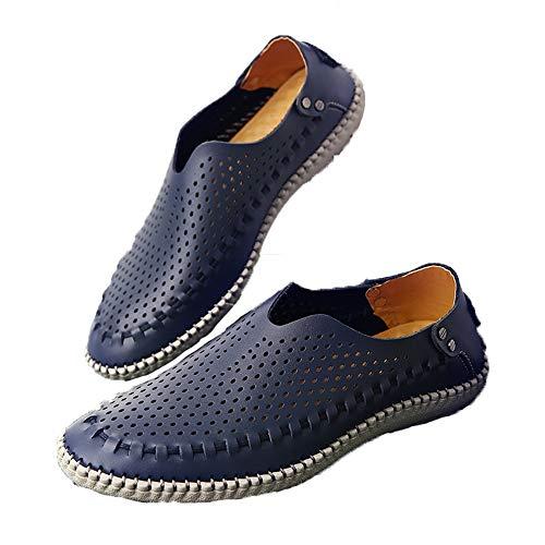 de 45 Color Holgazanes Zapatos tamaño Azul de a Suaves Hombres Ahuecar Cuero Fuxitoggo para Azul Genuino Prueba Agua EU Tpw5qf