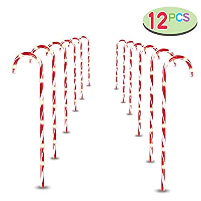 """Joiedomi 28"""" Christmas Candy Cane Pathway Markers, Set of 12 Christmas Pathway Lights with 108 Warm White Lights for Indoor and Outdoor Christmas Decorations"""