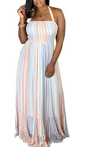 Cut Out Tube Dress - Women's Rainbow Stripe Chiffon Maxi Dress Strapless Halter Neck Tube Long Dresses Sundress Cover Up