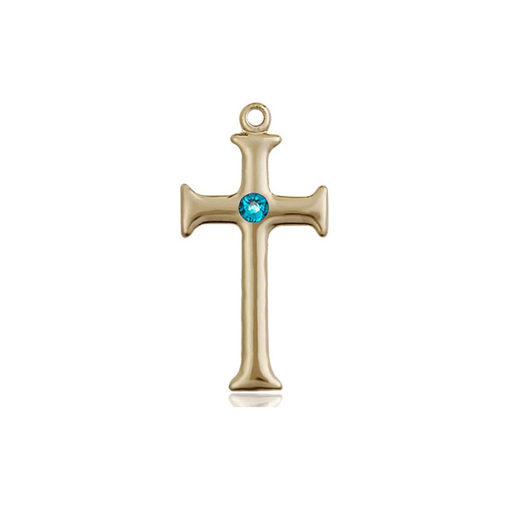 14kt Gold Cross Medal with 3mm Zircon bead.