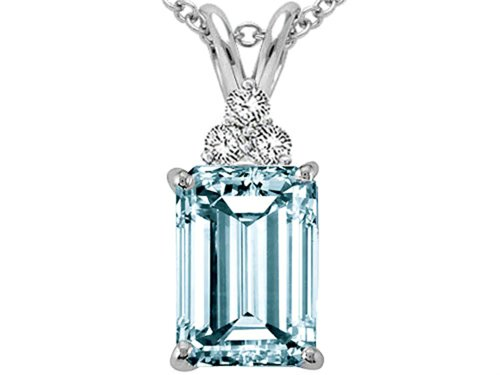 - Tommaso Design(tm) Emerald Cut 8x6mm Genuine Aquamarine and Diamond Pendant in 14 kt White Gold