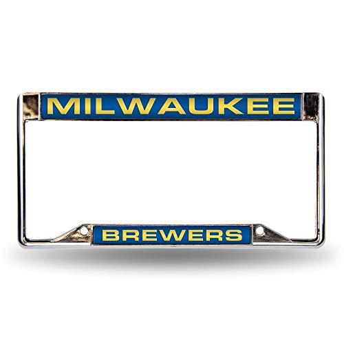 B.Fighting Milwaukee Brewers MLB Laser-Cut Chrome License Plate -