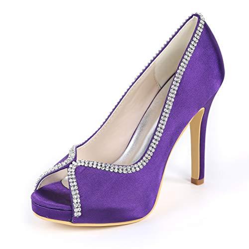 De Purple L Mujer Alto Tacones Imitación 11 Cm Zapatos Toe Corte Tacón Diamantes Satén Nupcial yc Peep Con qntTtaxSc
