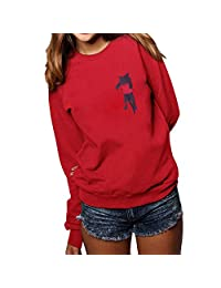 BOLUOYI Women Plus Size Solid Long Sleeve Hooded O-Neck Cat Print Loose Blouse Tops