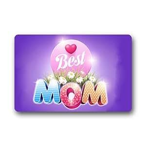 Cottage Decor Helper Simple y de moda personalizada lavable a Love a la mejor mamá 'elegante foto impresa Felpudo 23,6(L) X 15,7(W)