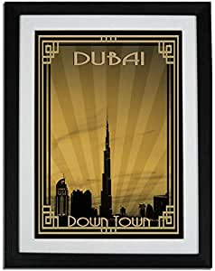 Dubai Skyline Down Town - Sepia With Gold Border F01-nm (a4) - Framed