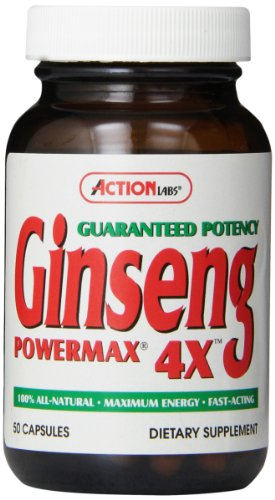 Power Ginseng - Action Labs Ginseng Power Max 4 X, 50-Count